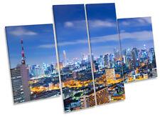 Bangkok Skyline Blue Thailand Framed CANVAS PRINT Four Panel Wall Art