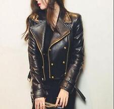 Noir Femme Moto Style Cuir Véritable Moto Coupe Slim Veste de motard