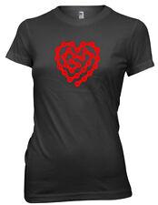 Cadena De Ciclismo Bici Bicicleta de amor corazón diseño para mujeres señoras Camiseta Gracioso
