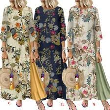 Womens Plus Size 3/4 Sleeves Crew Neck Boho Floral Maxi Long Dress Cotton Linen