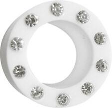 SET 2 weiße Ohr Piercing Schmuck Acryl Flesh Tunnel mit Steinkranz 4-20mm Stärke