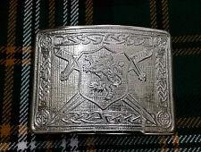 Saltire Lion Rampant Kilt Belt Buckle Chrome Finish/Highland Kilt Belt Buckles