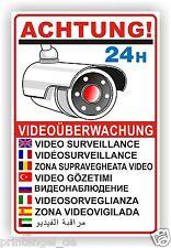 Schild Aufkleber Warnschild Hinweisschild VIDEOÜBERWACHUNG in 9 Sprachen Vi21