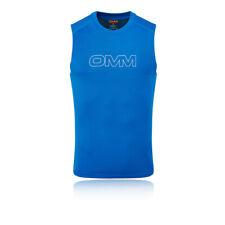 OMM Herren Flow Singlet Blau Sports Laufen Atmungsaktiv Reflective Extra Leicht