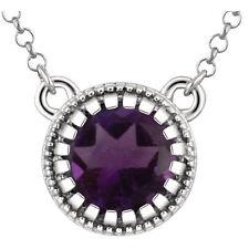 """Genuine Purple Amethyst 5.0 mm Round Gemstone 18"""" Chain Necklace 14K. White Gold"""