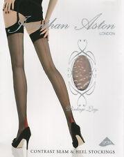 3 pairs Jonathan Aston Contrast Seam & Heel Stockings - Nude / Violet