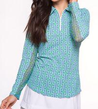 960af04131c Ibkul Ladies Andrea Print Long Sleeve Zip Polo