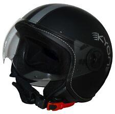 Jethelm Motorradhelm H710-Streifen matt-schwarz mit Silberstreifen Gr. XS-XL NEU
