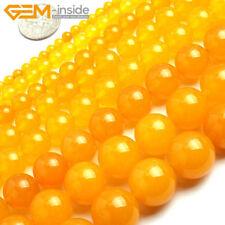 "Yellow Jade Gemstone Round Loose Spacer Beads For Jewellery Making Strand 15"" UK"