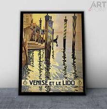 Vintage Art Deco Italy Venice Travel Poster Art Framed Canvas or Unframed Print