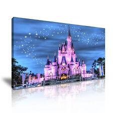 ' Disney Castle At Starry Night ' Cartoon Canvas Wall Deco Landscape Many Sizes