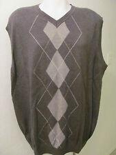 NEW 2XLT 2XT 2XL TALL V-Neck Sweater VEST DARK GRAY GREY w Diamond Pattern $70