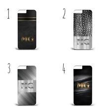Nombre Personalizado Mármol Piel Cuero Funda de teléfono duro a84 de metal iPhone Samsung