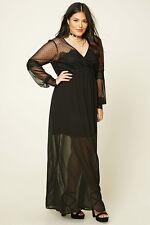 Forever 21+ Plus Size Black  Polka Dots  Lace Maxi Dress XL