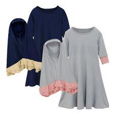 Muslim Kids Girls Prayer Scarf Hijab Dress Set Kaftan Abaya Jilbab Robe Coustume