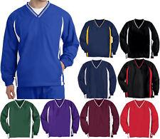 Wind Shirt Jacket Mens V Neck Lined Sport Tek Pockets S-4X, 5X, 6X Golf Baseball