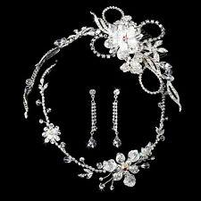 Silver or Gold Austrian Crystal Bridal Tiara Necklace Wedding Jewelry Set