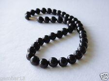 "Black Onyx Necklace 10mm Black Onyx Beads necklace 16"" 10 mm Black Onyx Beads"