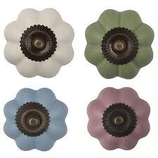Möbelknopf Porzellan Möbelknauf Schublade Keramik Vintage Blume Bronze Antik
