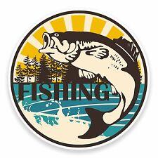 2 x 10cm Fish Vinyl Sticker Laptop Car Fishing Box Tackle Dad Gift Fisher #9541