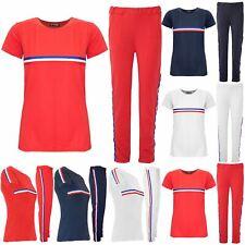 Womens Ladies Tracksuit Cap Sleeve Striped Top Pants Sports Lycra Suits 2 Piece