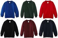 Kids Children Boys Girls Plain School Uniform Fleece Sweat Jumper Pullover