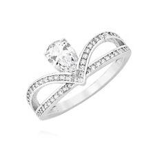 925 Sterling Silver Crown Ring Princess Clear Size J K L M N O P