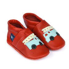 pantau.eu Kinder Baby Leder Krabbelschuhe Lederpuschen mit Feuerwehr Hausschuhe
