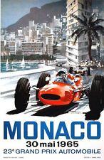 1965 Monaco Grand Prix Motor Racing Poster A3/A2 Print