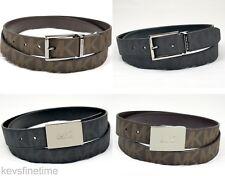 New in box Michael Kors Men 33mm Slim 30mm Black Brown Logo Belt Cut to Fit Size