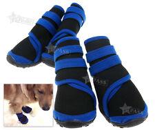 Wasserfeste Hunde Schuhe 4Pc Haustier Blau Neopren Hundestiefel S/M/L ET
