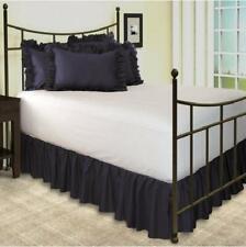 Navy Blue Solid Split Corner Ruffle Bed Skirt 650 Tc Cotton Select Size Drop New