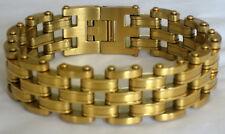 "Large Men's Gold Plated Stainlessl Large Bracelet 8.5"""