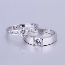 18K White Gold Filled Shiny Crystal Wedding Engagement Couple Band Ring H240