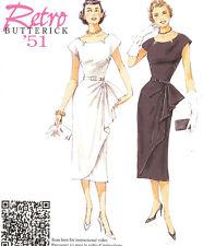 Waist  drape Dress 50s style PATTERN 1951 Retro Butterick 5880 Repro Sz 6-22