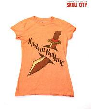 Kustom Kulture villana camisa naranja-rythm tatuaje Heart & Dagger-onesize