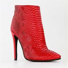 10.5cm High Heel Red Wedding Bridal Snakeskin Pattern Women's Ankle Boots 35-47