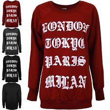 Womens Ladies London Tokyo Paris Milan Crew Neck Fleece Pullover Sweatshirt Top