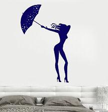 Wall Vinyl Decal Sexy Girl Woman With Umbrella Very Romantic Amazing Decor z3790