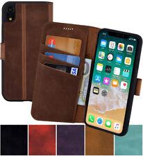 iPhone XR Hülle Book Style Tasche Echt Leder Wallet Case Cover Bumper 5 Farben