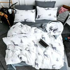 Christmas Deer Doona Duvet Quilt Covers Set Single/Double/Queen/King Size Bed
