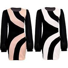 Ladies Chiffon Long Sleeve Black Peach Contrast Panel Bodycon Women's Dress