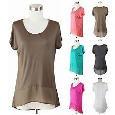 Short Sleeve Top Solid Plain Round Neck T-Shirt Rayon Contrast Sheer Hem Comfy