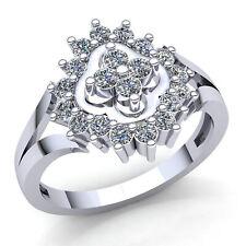 0.33carat Round Cut Diamond Ladies Bridal Fancy Flower Engagement Ring 14K Gold
