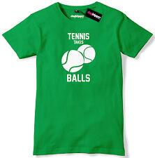 Tennis Takes Balls Funny Mens Premium T-Shirt Tee
