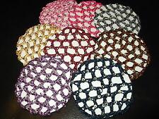 Diamante bun hair net thick colour mesh fabric crochet ballet dance snood cover