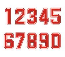 Iron-On Heatpress Bold Font Red Number Football Baseball Sports Kids T-Shirt