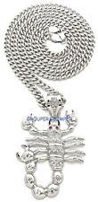 Scorpion Rhinestone Pendant with 30 Inch Long Cuban Necklace