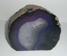 Purple Agate cut base Crystal Geode Slice 382g