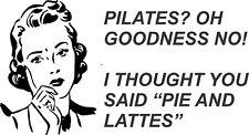 Coffee Retro Lady Pilates Pie Lattes vinyl wall art sticker kitchen decal humour